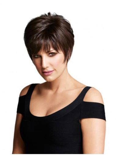Discount Monofilament Layered Straight Short Wigs