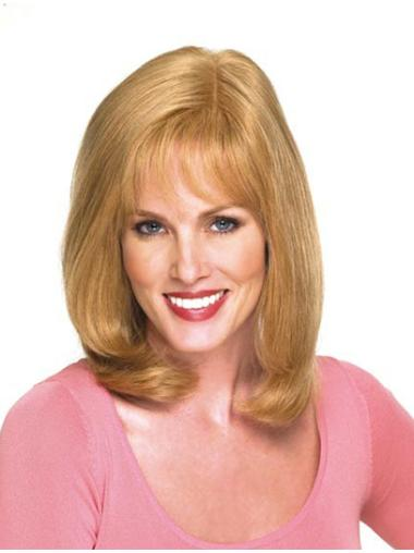 Sassy Blonde Wavy Shoulder Length Remy Human Lace Wigs
