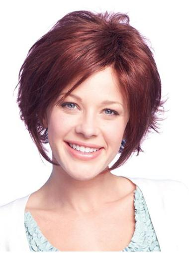 Comfortable Auburn Lace Front Chin Length Remy Human Lace Wigs