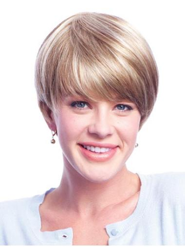 Remy Human Hair Blonde Monofilament Nice Short Wigs