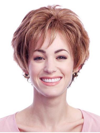 Popular Auburn Wavy Short Glueless Lace Front Wigs