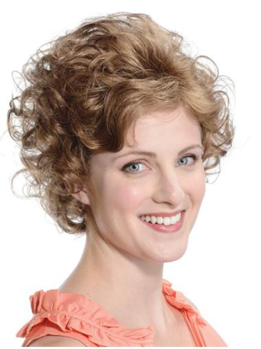 Brown Flexibility Curly Synthetic Medium Wigs