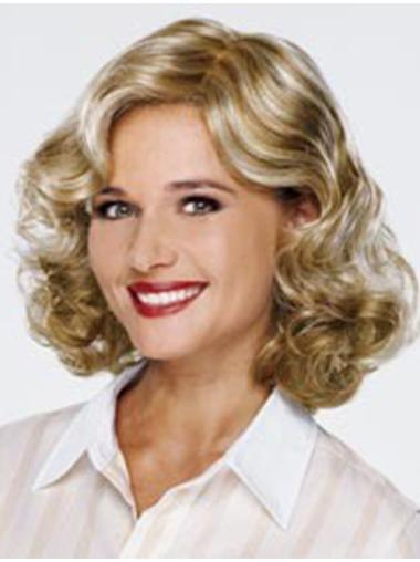 Blonde Designed Curly Synthetic Medium Wigs