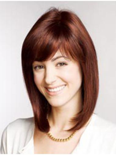 Cool Auburn Straight Shoulder Length Remy Human Lace Wigs