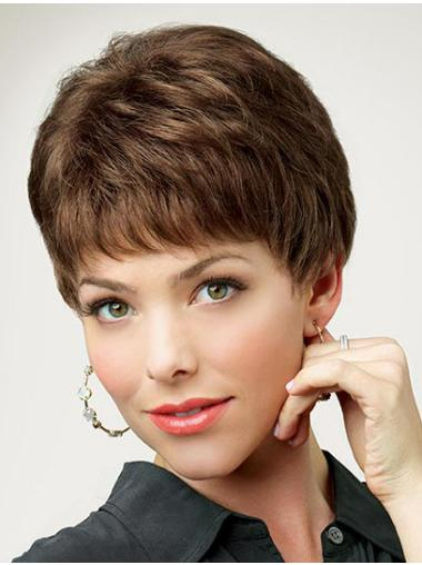 Monofilament Suitable Boycuts Straight Short Wigs