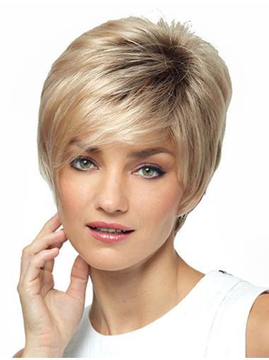 Blonde Straight Synthetic Elegant Short Wigs