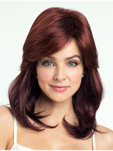 Red Trendy Wavy Synthetic Medium Wigs