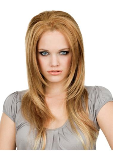 Remy Human Hair Lace Front Blonde Modern Long Wigs