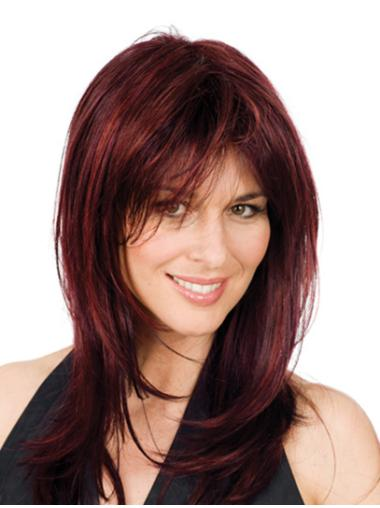 Cheap Red Wavy Shoulder Length Glueless Lace Wigs