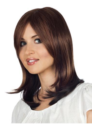 Monofilament Graceful Wavy Remy Human Hair Medium Wigs