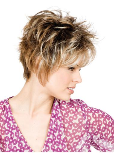 Blonde Monofilament Synthetic Fashionable Short Wigs
