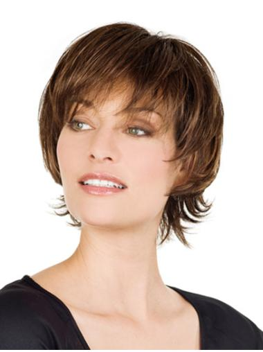 Lace Front Graceful With Bangs Straight Short Wigs