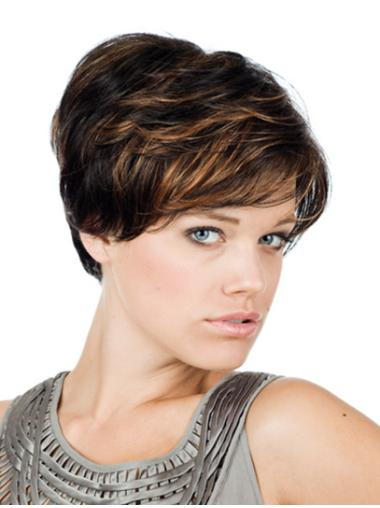 Monofilament Fashionable With Bangs Straight Short Wigs