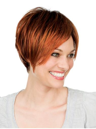 Auburn Lace Front Remy Human Hair Gentle Short Wigs