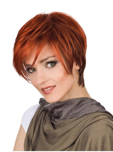 Red Flexibility With Bangs Monofilament Short Wigs