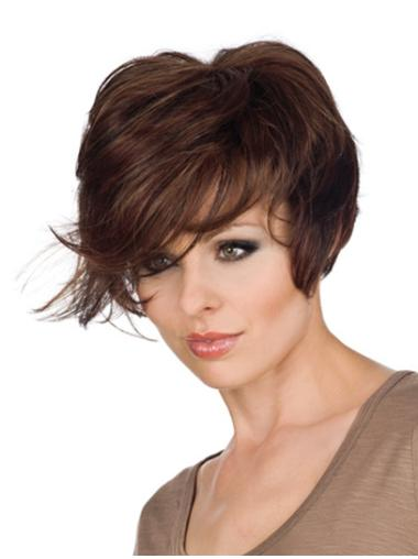 Monofilament Comfortable With Bangs Wavy Short Wigs