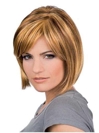 Blonde Graceful Wavy Remy Human Hair Medium Wigs