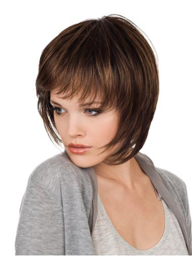 Monofilament Gentle Straight Synthetic Medium Wigs
