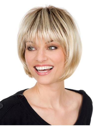 Radiant Blonde Monofilament Chin Length Wigs