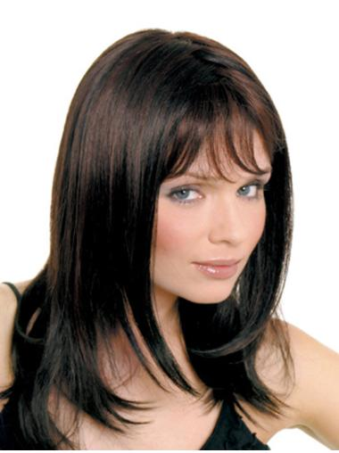 Monofilament Wavy Synthetic Braw Medium Wigs