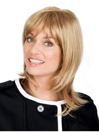 Popular Blonde Wavy Shoulder Length Remy Human Lace Wigs