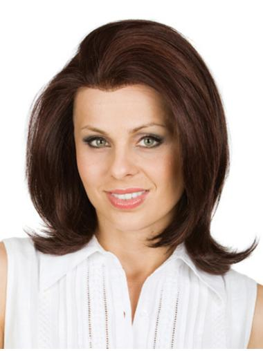 Stylish Brown Wavy Shoulder Length Remy Human Lace Wigs