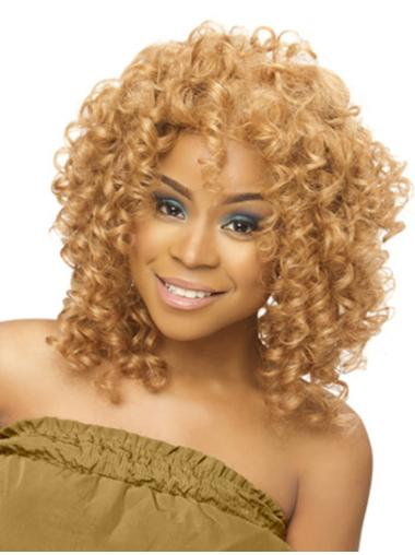 Traditiona Blonde Curly Shoulder Length Full Lace Wigs