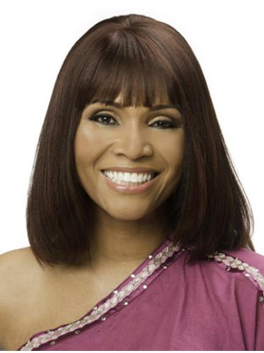 Wholesome Monofilament Straight Chin Length African American Wigs