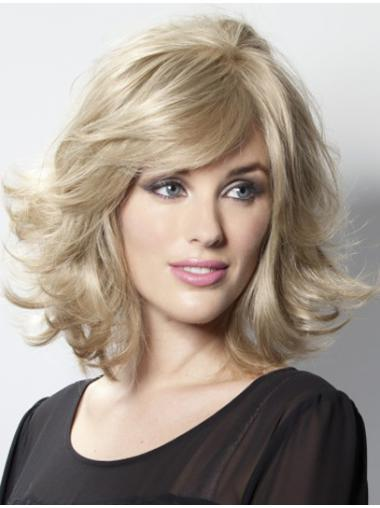 Blonde Wavy Remy Human Hair Convenient Medium Wigs