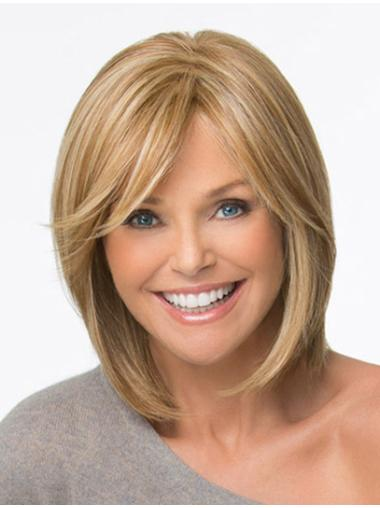 Elegant Blonde Monofilament Chin Length Lace Wigs