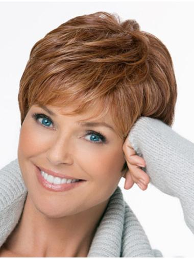 Brown Great Monofilament Straight Short Wigs