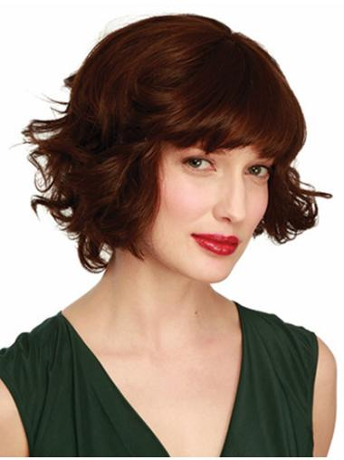 Monofilament Wavy Remy Human Hair New Medium Wigs