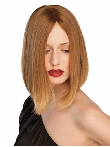 Sleek Blonde Straight Chin Length Lace Front Wigs