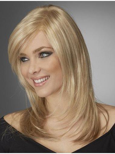 Shining Blonde Wavy Shoulder Length Lace Wigs
