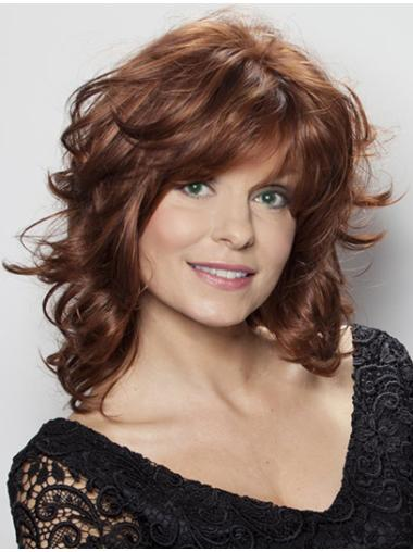 Graceful Lace Front Wavy Shoulder Length Remy Human Lace Wigs