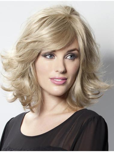 Natural Blonde Wavy Shoulder Length Lace Front Wigs