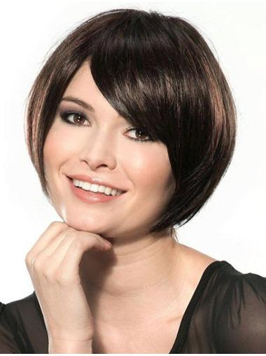 Comfortable Black Lace Front Chin Length Wigs