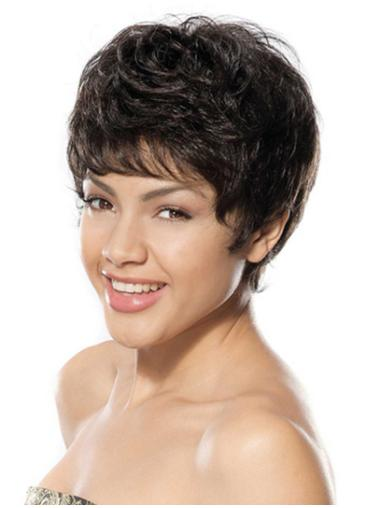 Impressive Black Wavy Short Glueless Lace Wigs