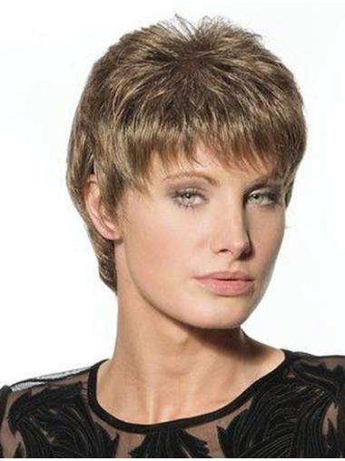 Traditiona Lace Front Straight Cropped Glueless Lace Wigs