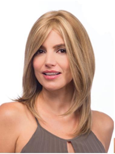 High Quality Blonde Straight Shoulder Length Lace Wigs
