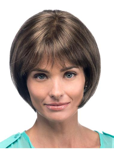 Impressive Brown Straight Chin Length Bob Wigs