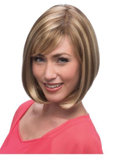 Sleek Blonde Monofilament Chin Length Lace Wigs