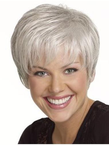 Sassy Straight Short Synthetic Grey Wigs