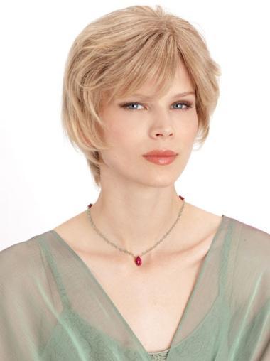 Blonde Monofilament Remy Human Hair Stylish Medium Wigs