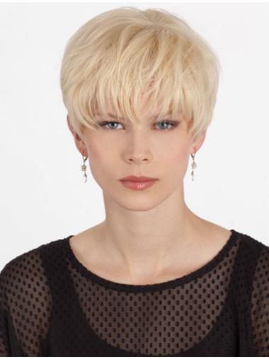 Stylish Monofilament Boycuts Blonde Short Wigs