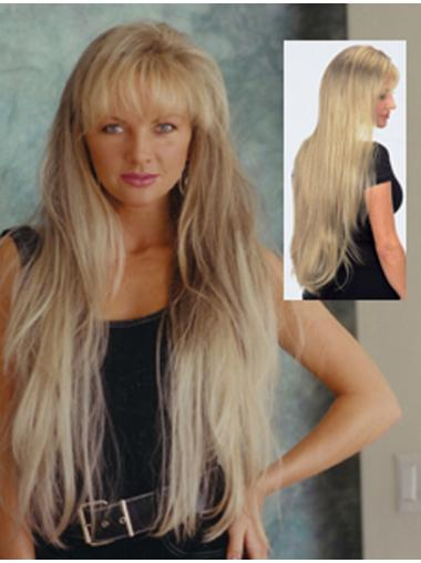 Blonde Straight Synthetic Glamorous Long Wigs