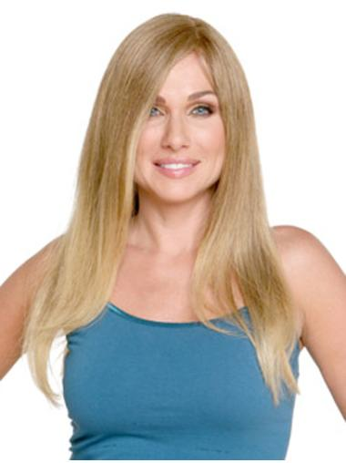 Blonde Monofilament Remy Human Hair Sassy Long Wigs