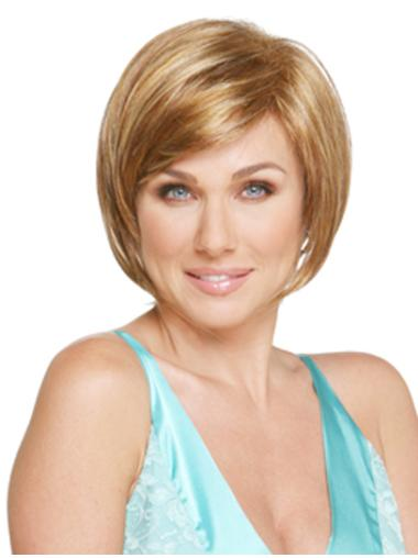 Blonde High Quality Straight Synthetic Medium Wigs