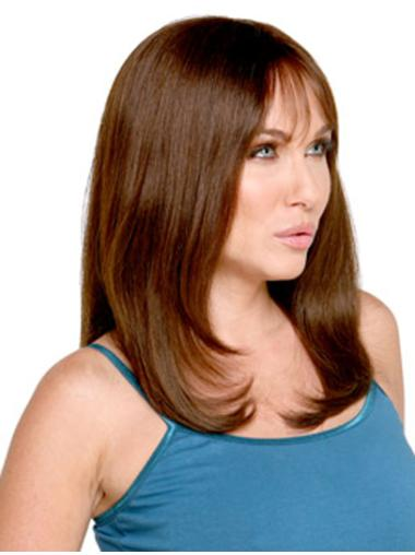 Flexibility Monofilament Straight Remy Human Hair Long Wigs