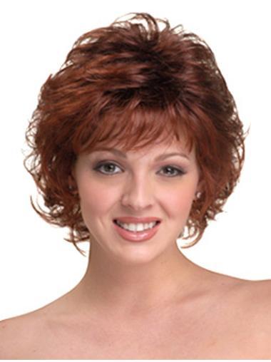 Perfect Auburn Curly Chin Length Wigs